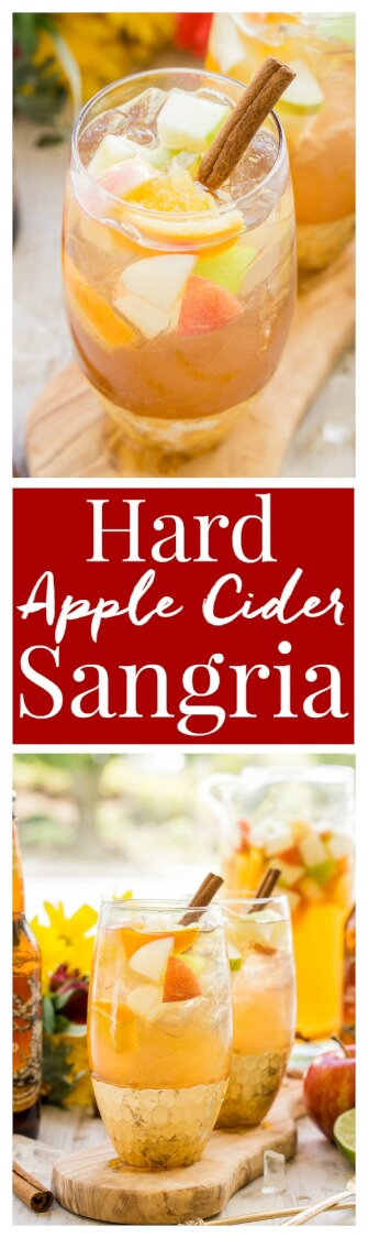 This Hard Apple Cider Sangria brings together the cozy flavors of fall in a crisp and refreshing batch cocktail! via @sugarandsoulco