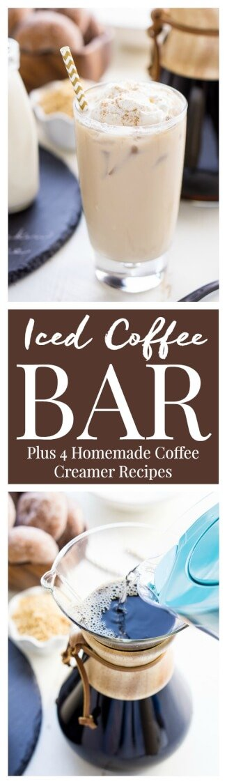 This Iced Coffee Bar is a must have at any get-together! Mix up the four homemade coffee creamer recipes so your guests can really indulge in their cup of joe! via @sugarandsoulco