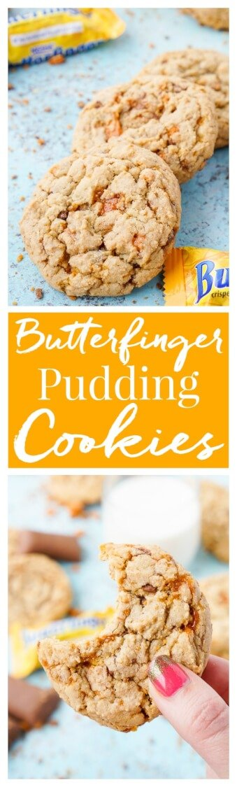 These Butterfinger Pudding Cookies are everything you love about the classic candy bar in a chewy, buttery, sweet cookie! via @sugarandsoulco