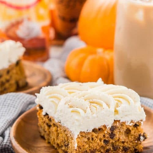 Pumpkin Chocolate Chip Poke Cake