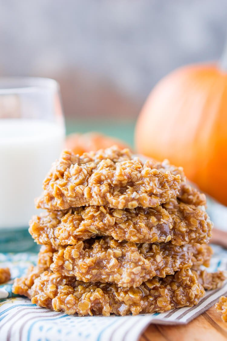 These Pumpkin No Bake Cookies are crazy delicious and so simple to make! Made with oatmeal, pumpkin spice pudding mix, sugar, butter, and more, these cookies will be a hit at home, the office, or a party! Don't let fall pass you by without making a batch!