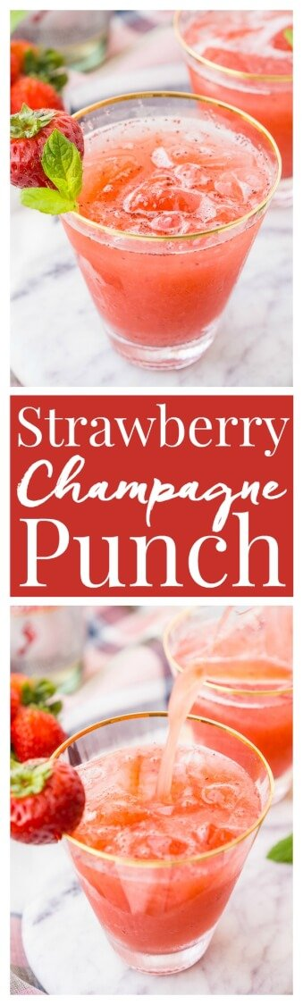 This Strawberry Champagne Punch is the ultimate pink drink! It's sparkly, easy to make, and loaded with strawberry sweetness! via @sugarandsoulco