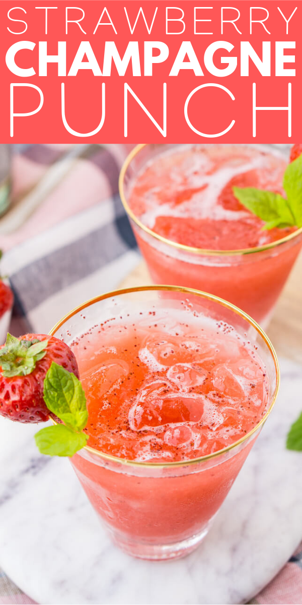 This Strawberry Champagne Punch is the ultimate pink drink! It's sparkly, easy to make, and loaded with strawberry sweetness!