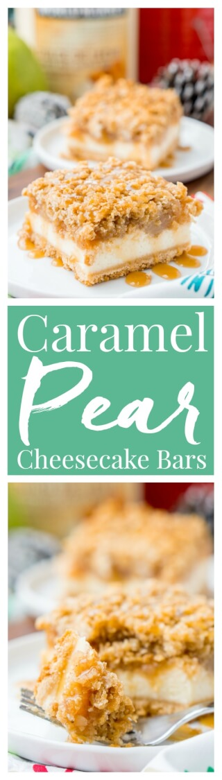 """These Caramel Pear Cheesecake Bars are inspired by """"a partridge in a pear tree"""" from the classic holiday song """"12 Days of Christmas."""" These decadent layered bars represent traditions old and new, and are perfect for sharing this holiday season! via @sugarandsoulco"""