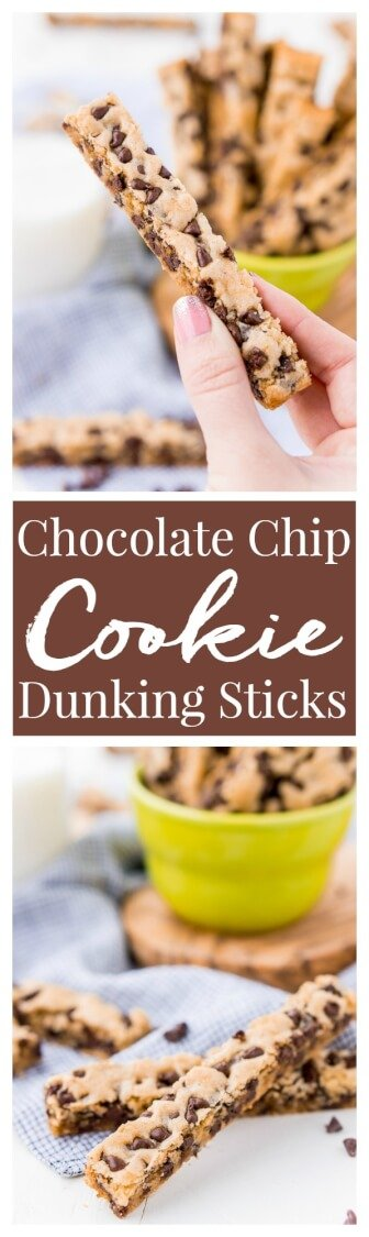 Chocolate Chip Cookie Sticks are a fun twist on classic chocolate chip cookies and the perfect dessert for dipping! A thick, slightly crisp, yet still chewy cookie loaded with chocolate chips and made in a 9 x 13-inch pan for easy baking! via @sugarandsoulco