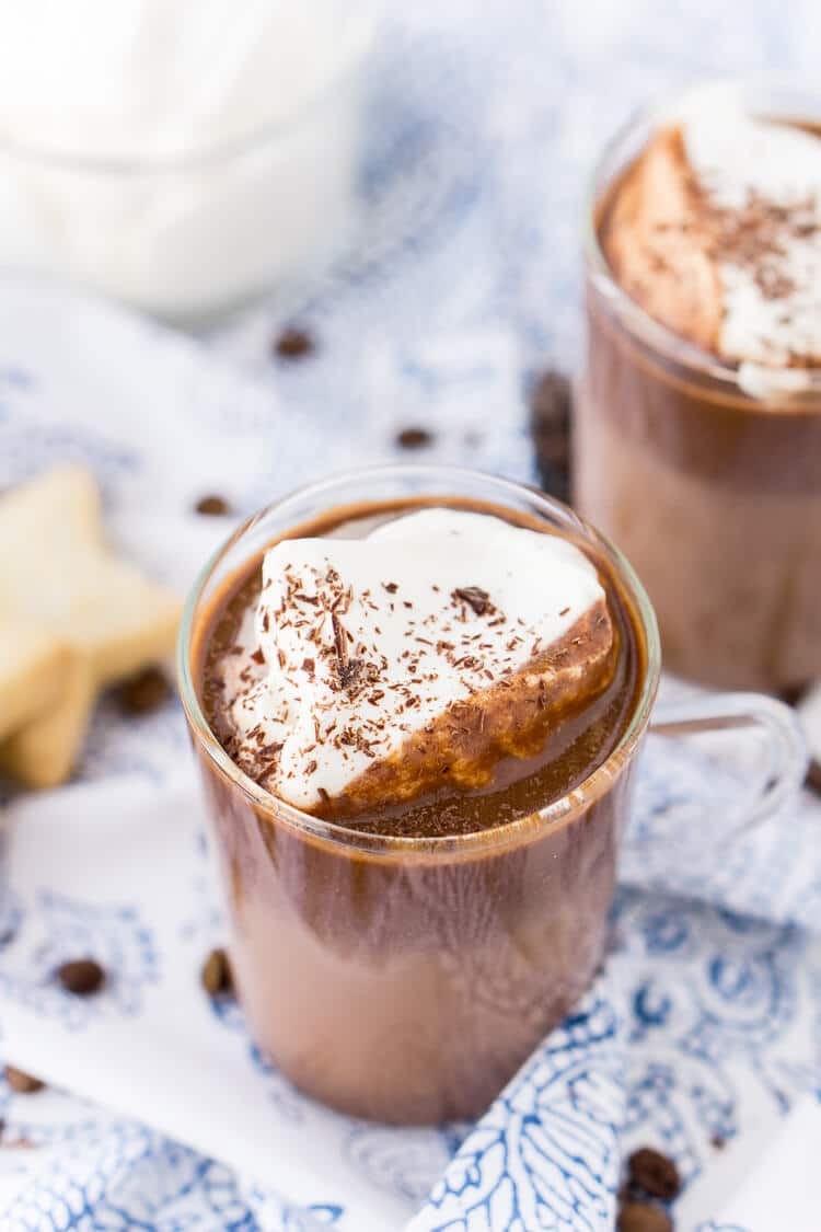 This French Hot Chocolate Coffee is an indulgent blend of thick and creamy Parisian hot chocolate and bold hot dark roast coffee. The perfect brunch or dessert beverage for the holidays!