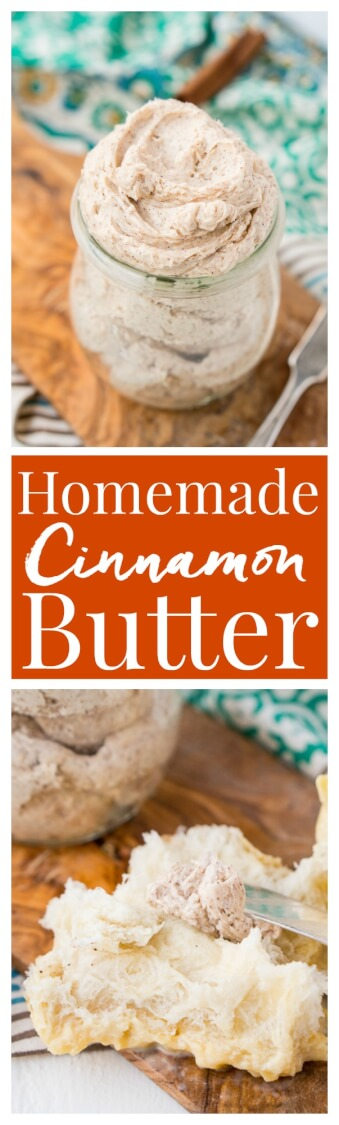 This Homemade Cinnamon Butter is bound to be a holiday table staple. Made in minutes in your stand mixer or blender, you can whip up this delicious, creamy, and spicy butter that's perfect for spreading on dinner rolls, toast, and sweet potatoes! And don't forget to brag that you made it! via @sugarandsoulco