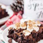 With this Hot Chocolate Dump Cake, there's no need to decide between hot cocoa and chocolate cake – you can have both! An easy holiday dessert made with just six ingredients!