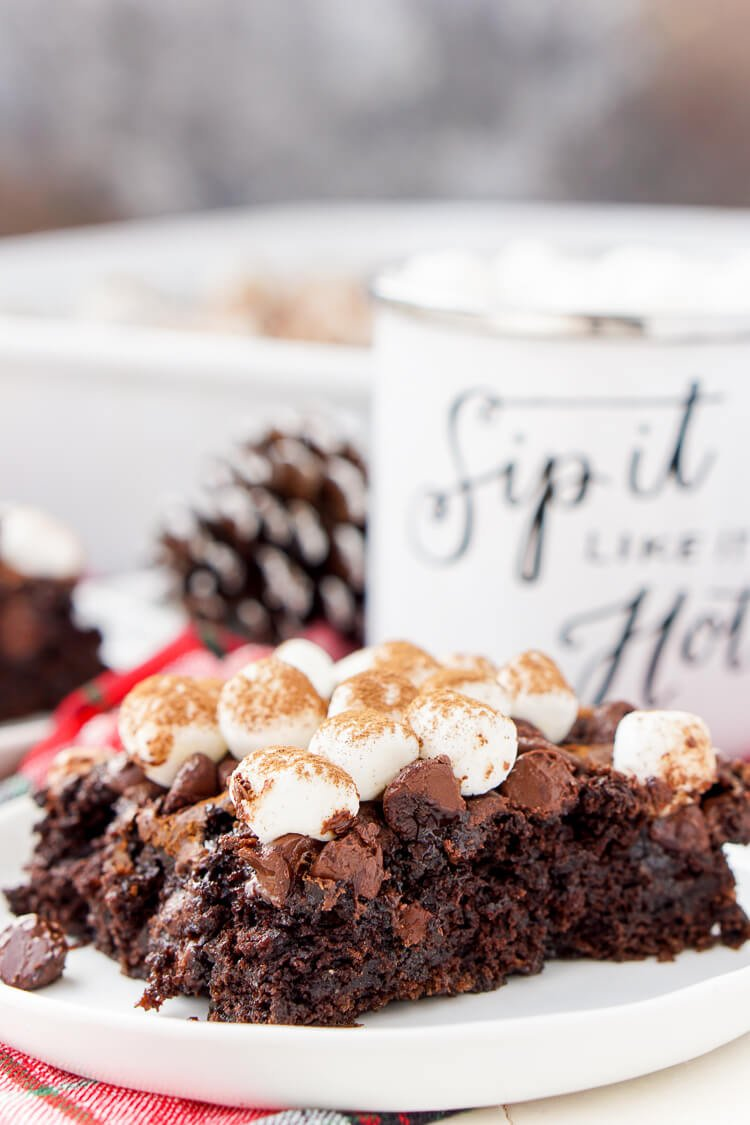 This Hot Chocolate Dump Cake is an easy holiday dessert!