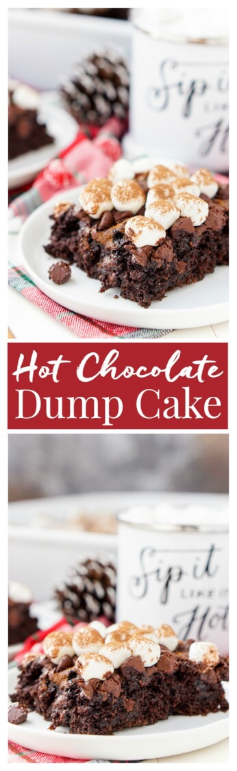 With this Hot Chocolate Dump Cake, there's no need to decide between hot cocoa and chocolate cake – you can have both! An easy holiday dessert made with just six ingredients! via @sugarandsoulco