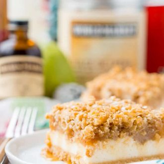 "These Caramel Pear Cheesecake Bars are inspired by ""a partridge in a pear tree"" from the classic holiday song ""12 Days of Christmas."" These decadent layered bars represent traditions old and new, and are a perfect dessert for sharing this holiday season!"