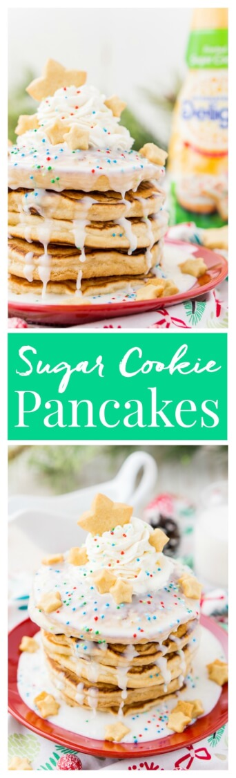 These Sugar Cookie Pancakes will add holiday cheer to your morning routine. Trade in traditional buttermilk for thick, fluffy, and sweet ricotta based pancakes laced with sugar cookie creamer, and topped with baked sugar cookies, icing, whipped cream, and sprinkles! via @sugarandsoulco