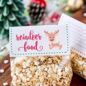 Magic Reindeer Food is a simple and fun Christmas tradition! Make it in minutes with pantry staples and snag these FREE printable labels to package it up for the kids to spread on the lawn to guide Rudolph and Santa to your house on Christmas Eve!
