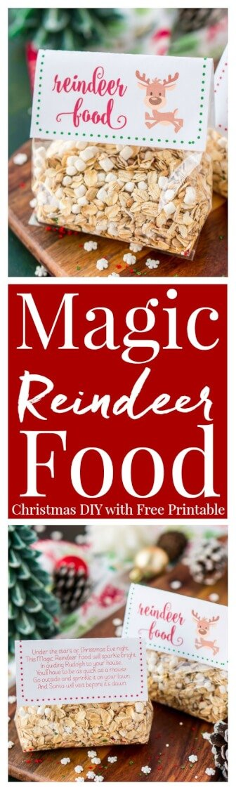 Magic Reindeer Food is a simple and fun Christmas tradition! Make it in minutes with pantry staples and snag these FREE printable labels! via @sugarandsoulco