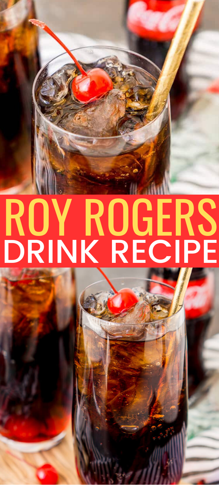 Roy Rogers Drink is an easy and popular non-alcoholic mocktail recipe made with Coke and grenadine and named for the famous singer and actor. via @sugarandsoulco
