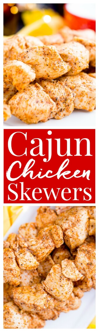 These Baked Cajun Chicken Skewers are marinated in zesty Cajun flavors, baked to perfection, and served with a creamy and cool mint yogurt sauce.
