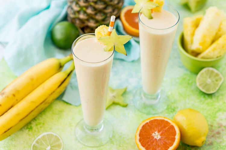 Hawaiian Sunshine Fruit Smoothie is a delicious way to get in some vitamin C, protein, dietary fiber, and potassium for breakfast or as an afternoon snack! It's loaded with orange juice, lime juice, lemon juice, banana, pineapple, and coconut extract for an extra fruity tropical flavor!