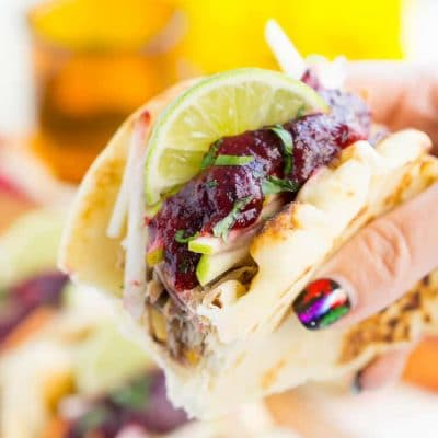 Pulled Pork Tacos with Blueberry Barbecue Sauce