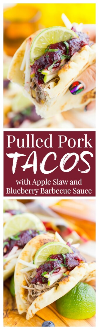Pulled Pork Tacos with Blueberry Barbecue Sauce are perfect for game days and weeknights! A pork shoulder is slow cooked in root beer, topped with an apple slaw and homemade blueberry barbecue sauce all nestled in delicious naan bread! via @sugarandsoulco