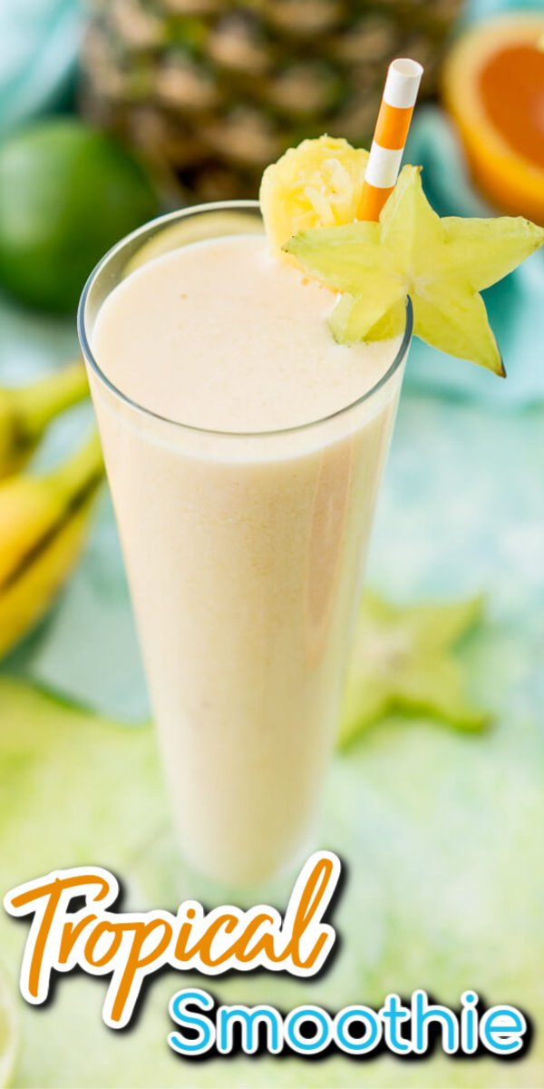 Close up photo of a tropical smoothie with text overlay.