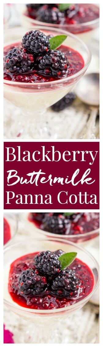 Blackberry Buttermilk Panna Cotta is a delicious Southern twist on a classic Italian dessert. A sweet cream and buttermilk based panna cotta topped with a tantalizing blackberry sauce.