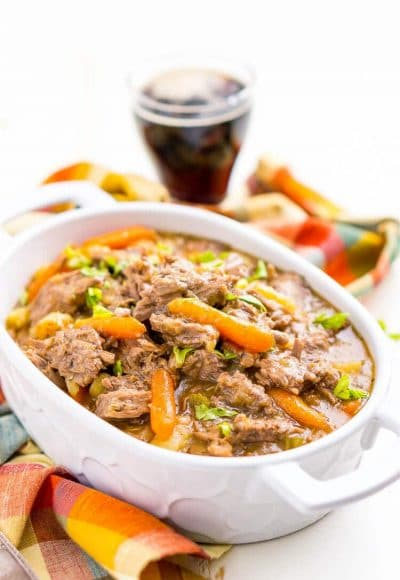 Instant Pot Pot Roast is a fast and delicious homestyle dinner recipe that's ready in about an hour with an Instant Pot or eight hours with a slow cooker. Loaded with carrot, potatoes, celery!
