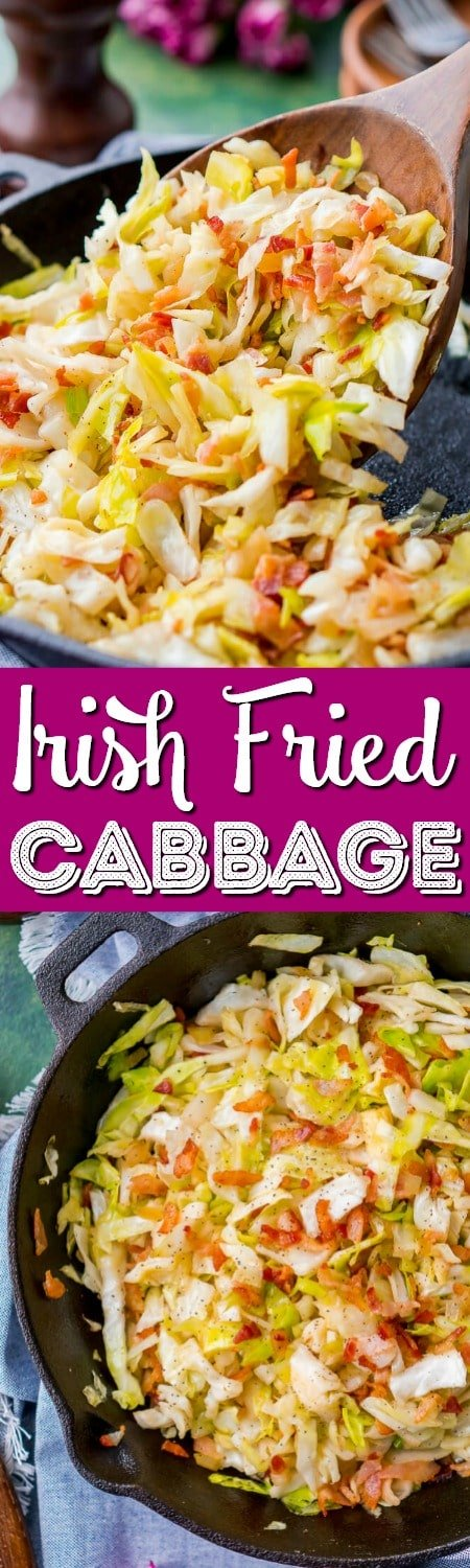 Irish Fried Cabbage and Bacon is a simple recipe that's pan-fried in bacon grease and loaded up with bacon pieces and onion and seasoned with brown sugar, salt, and pepper.