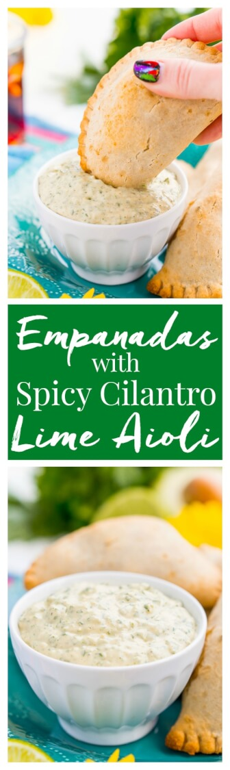 This Spicy Cilantro Lime Aioli is the perfect pairing for chicken empanadas, tortilla chips, and so much more. A blend of cilantro, jalapeños, lime, garlic, and spices make for an addictive dip! via @sugarandsoulco