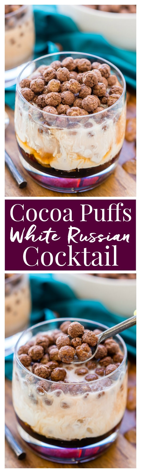 This Cocoa Puffs White Russian is a fun and unique twist on the classic cocktail made with Kahlua, vodka, cream and cocoa puffs. Perfect for late nights and brunch! via @sugarandsoulco
