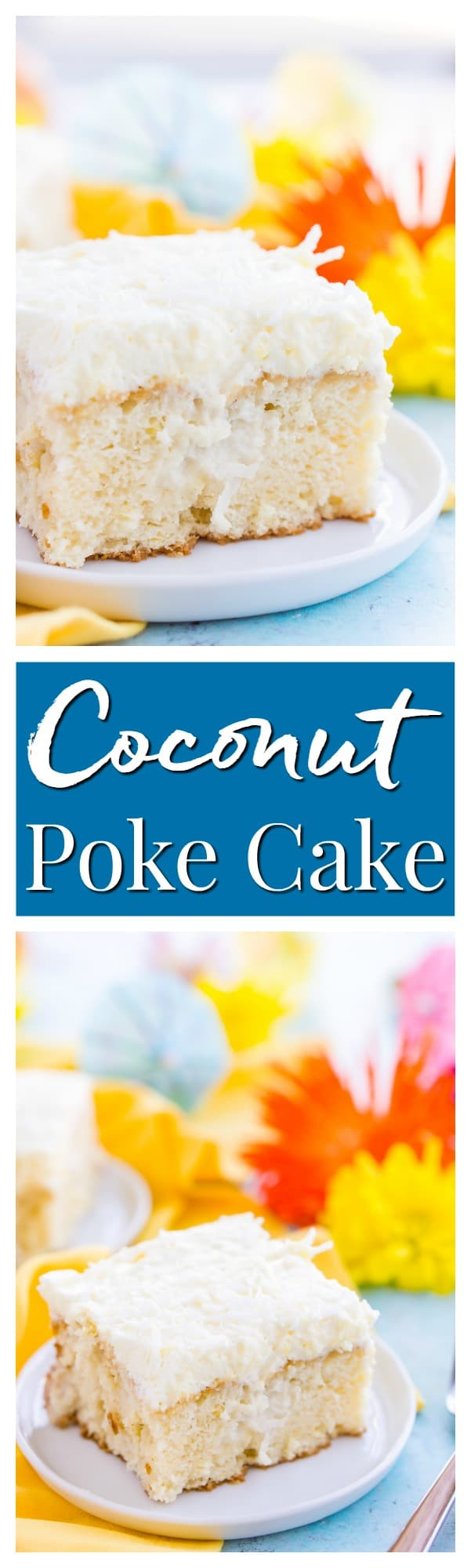 This Coconut Poke Cake is easy to make, loaded with coconut flavor, and the perfect dessert for your spring and summer celebrations. via @sugarandsoulco
