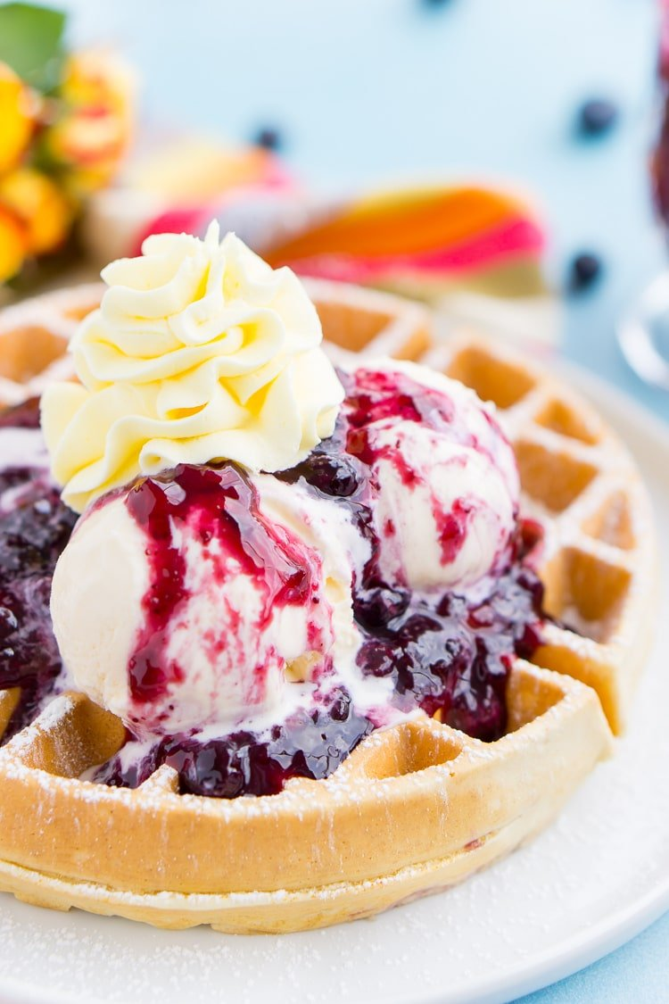 Belgian Waffles with Mango Blueberry Compote