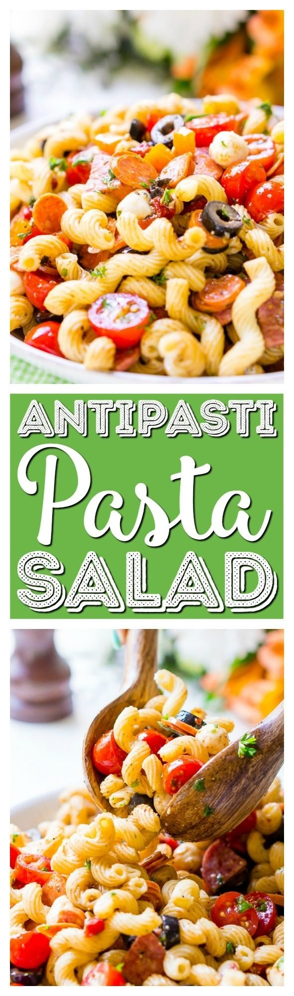Antipasti Pasta Saladrecipe is loaded with veggies, cheeses, herbs, and meats and coated in a simple balsamic and olive oil dressing. Perfect for large get-togetherslike BBQs and potlucks!