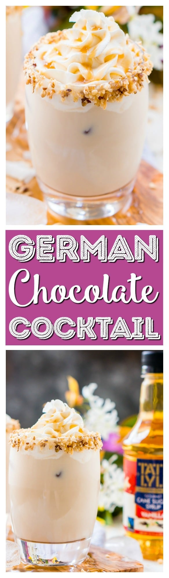 This German Chocolate Cocktail is a sweet dessert drink that's loaded with coconut, vanilla, chocolate, and caramel flavors! It can be made non-alcoholic too! via @sugarandsoulco