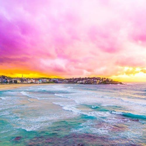 Sunrise And Surfing At Bondi Beach