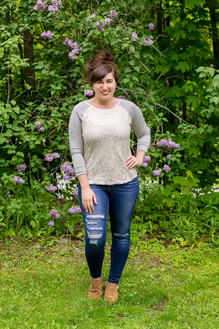 Stitch Fix Review June 2017 - Market & Spruce Bernadette Lace Overlay Raglan Top