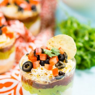 This Lightened Up 7 Layer Dip is loaded with delicious flavors and textures that make it the perfect party dip! Plus it's super easy to make!