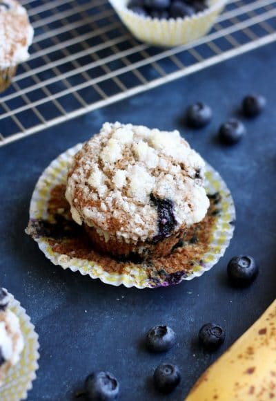 These delicious Banana Blueberry Whole Wheat Muffins are great for on the go breakfast, yet taste like a decadent dessert.