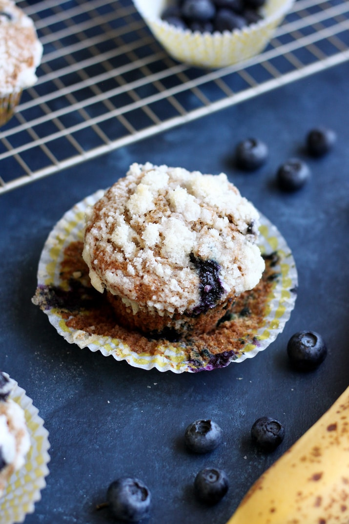 Banana Blueberry Whole Wheat Muffins