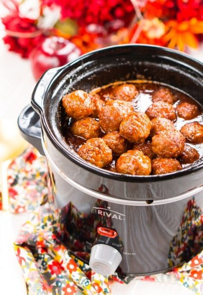 These Apple Cocktail Meatballs are aneasy party food appetizer that's made in the slow cooker and loaded with flavors that will tantalize your taste buds!