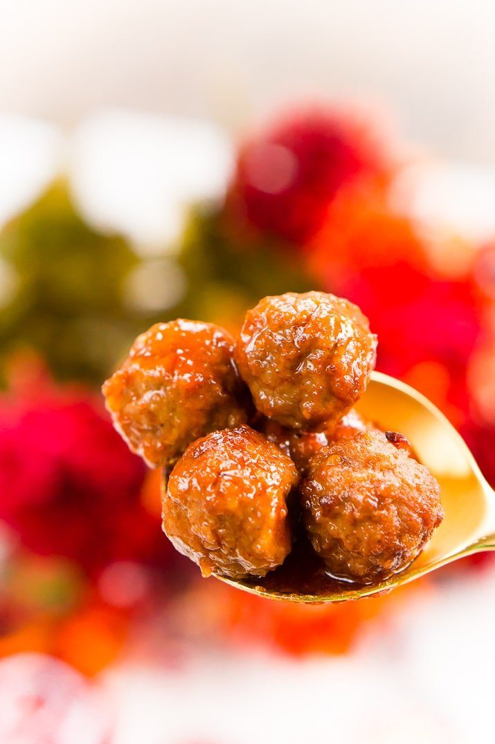 These Apple Cocktail Meatballs are an easy party food appetizer that's made in the slow cooker and loaded with flavors that will tantalize your taste buds!