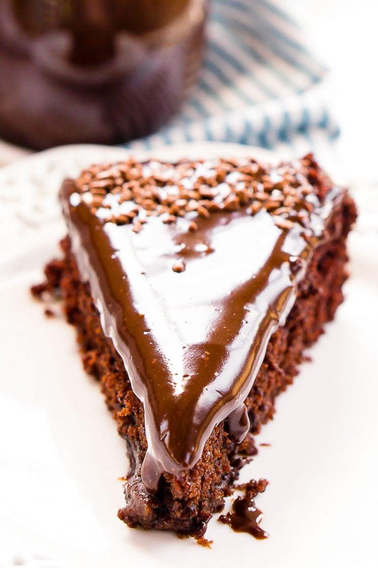 Close up photo of a slice of chocolate crazy cake.
