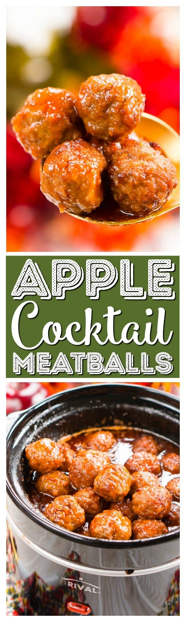 These Apple Cocktail Meatballs are aneasy party food appetizer that's made in the slow cooker and loaded with flavors that will tantalize your taste buds! via @sugarandsoulco