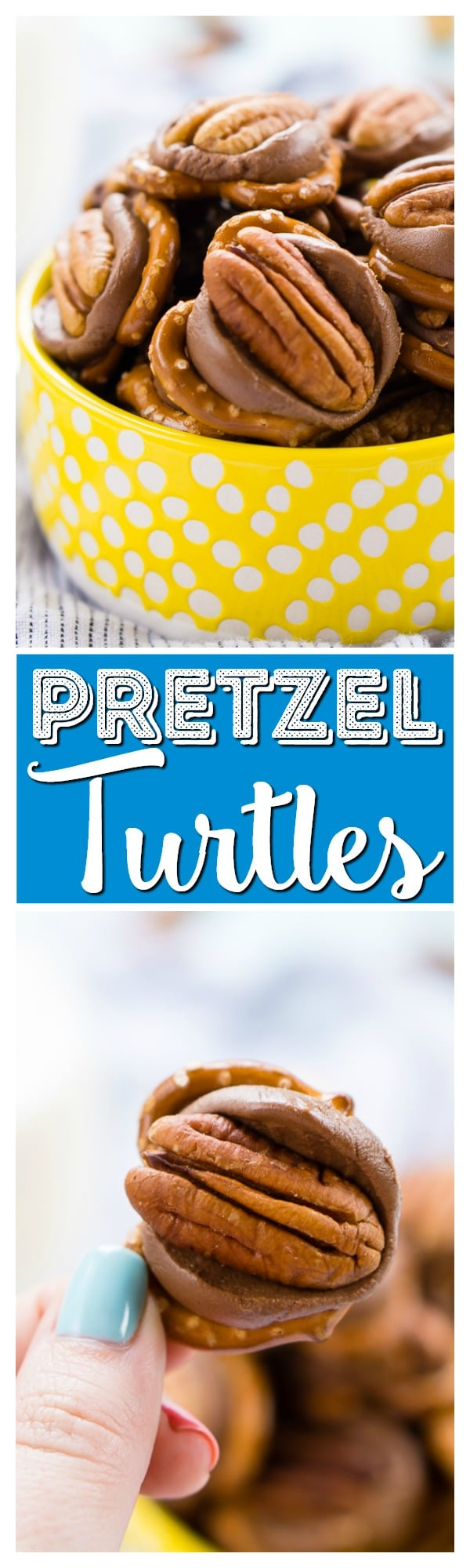 Pretzel Turtles are made with just three ingredients and everyone will love the mix of salty and sweet in this delicious little dessert candy! via @sugarandsoulco