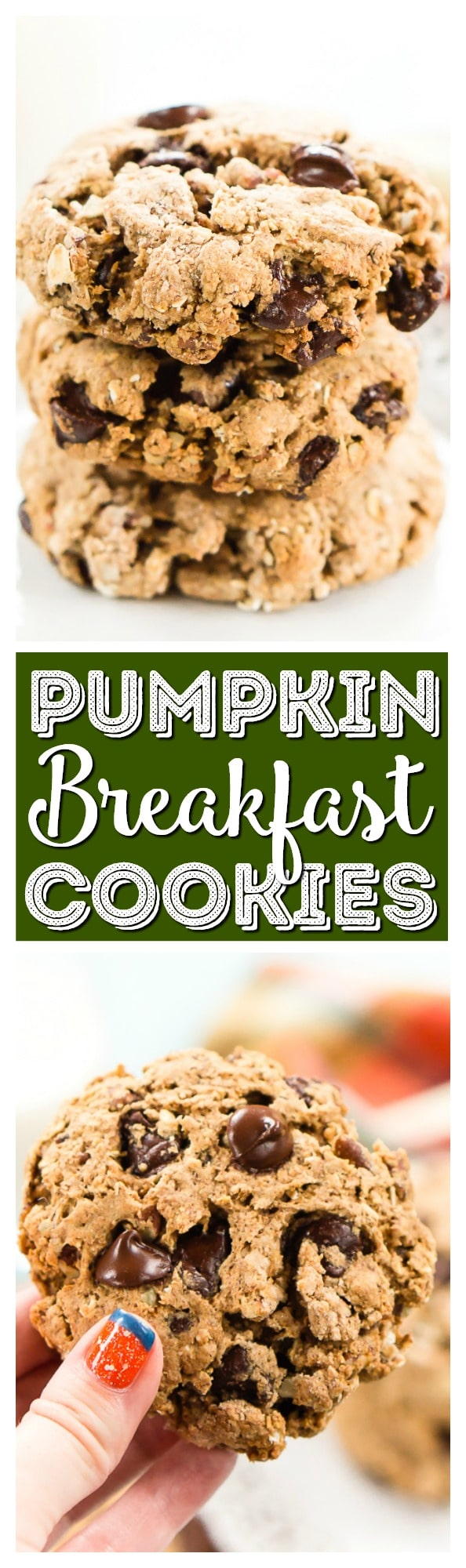 These Pumpkin Chocolate Chip Breakfast Cookies are a hearty and wholesome start to your fall mornings! They're loaded with pumpkin, oatmeal, whole wheat, apple sauce, and more! Whip them up in less than 30 minutes and enjoy them all week long! via @sugarandsoulco
