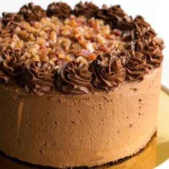 Brown Sugar Bacon Chocolate Cake is a decadent dessert layered with rich chocolate and candied bacon. One bite of this sweet & salty cake will have you falling in love!