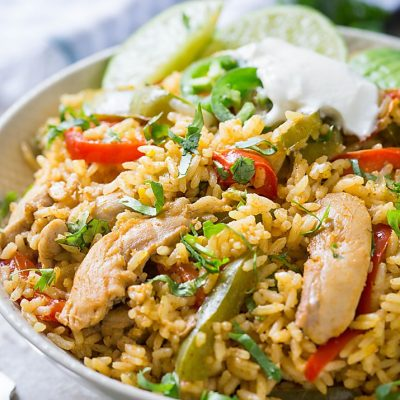 This Chicken Fajita Rice is packed with authentic Mexican flavors. It's a super easy, delicious, and filling Mexican fried rice perfect for lunch or dinner.