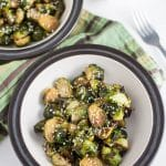 These simple Roasted Brussels Sprouts are topped with a maple sesame glaze that gives them the perfect balance of both sweet and savory flavor!