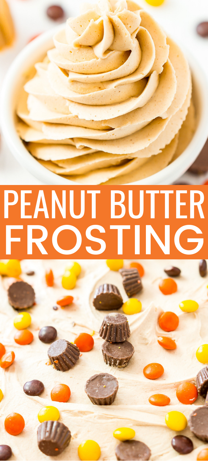 This is the Best Peanut Butter Frosting Recipe you're going to find. It's sweet, creamy, peanut buttery PERFECTION made with peanut butter, butter, powdered sugar, vanilla, and heavy cream!