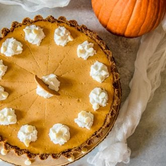 Present that traditional pumpkin pie in a more festive way with this White Chocolate Pumpkin Cheesecake Tart! Pumpkin cheesecake, infused with white chocolate and nestled in a gingersnap crust, is going to be your new favorite holiday dessert!