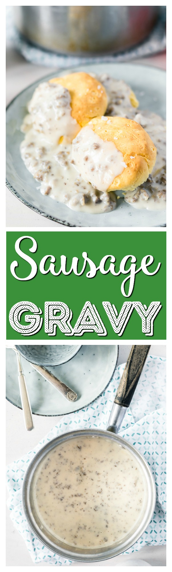 This Sausage Gravy recipe is loaded with flavor, made with ground pork, rich cream, and a touch of garlic, plus a small splash of apple cider vinegar really brings the dish to life! via @sugarandsoulco
